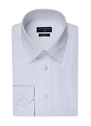 D'S Damat Regular Fit Düz Gömlek Beyaz